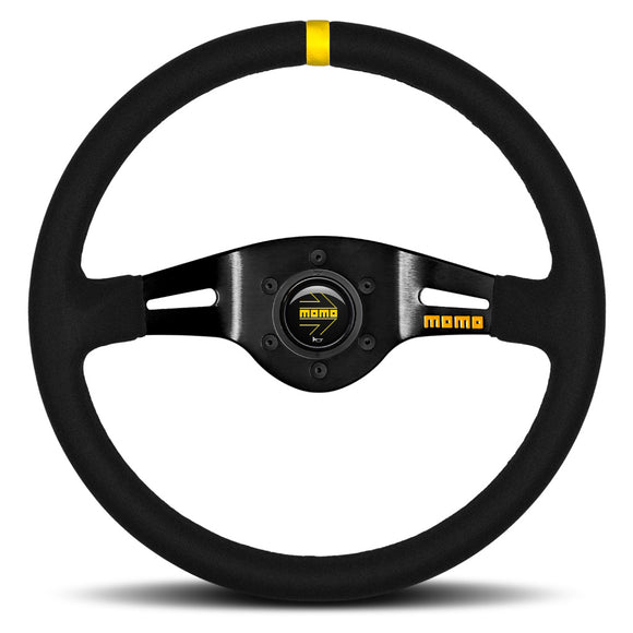 MOMO Mod. 03 Two Spoke Steering Wheel Black Suede Black Spokes 350mm