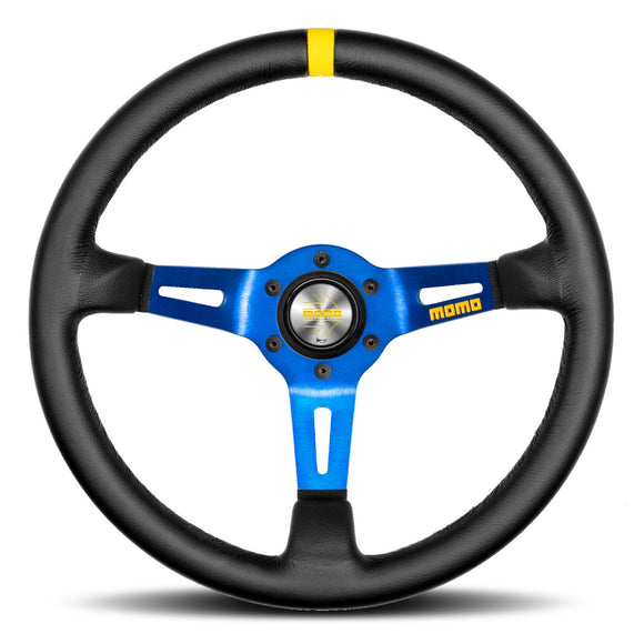 MOMO Mod. 08 Steering Wheel Black Leather Blue Spokes 350mm