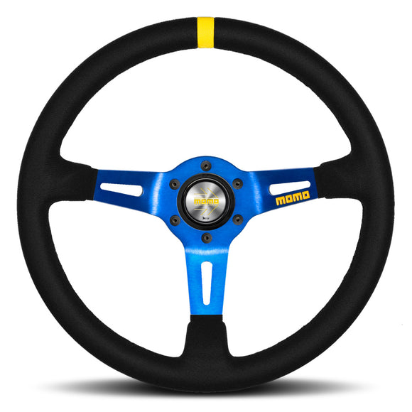 MOMO Mod. 08 Steering Wheel Black Suede Blue Spokes 350mm
