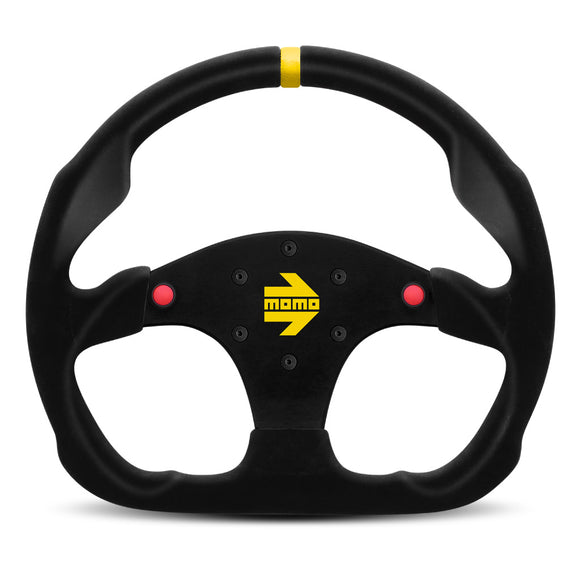 MOMO Mod. 30 B Steering Wheel Black Suede Black Spokes 320mm