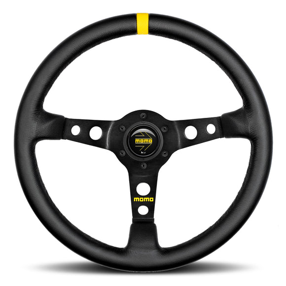 MOMO Mod. 07 Steering Wheel Black Leather Black Spokes 350mm