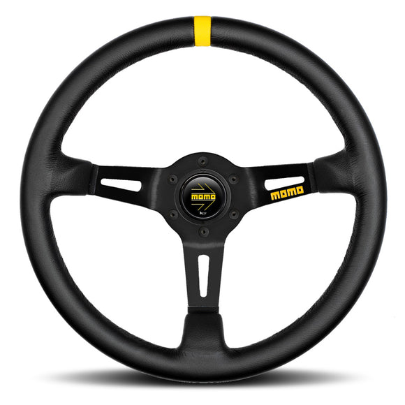 MOMO Mod. 08 Steering Wheel Black Leather Black Spokes 350mm