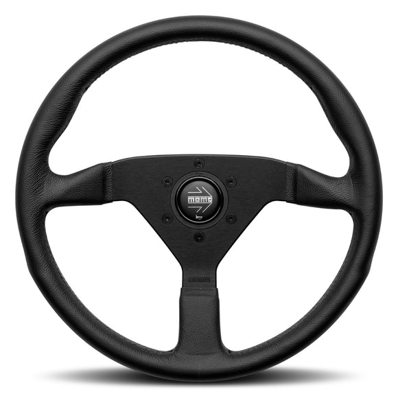 MOMO Montecarlo Steering Wheel Black Leather Black Spokes 350mm - evilspeed.eu