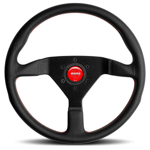 MOMO Montecarlo Steering Wheel Black Leather Red Stitching Black Spokes 350mm