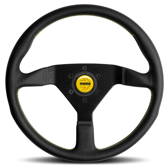 MOMO Montecarlo Steering Wheel Black Leather Yellow Stitching Black Spokes 350mm