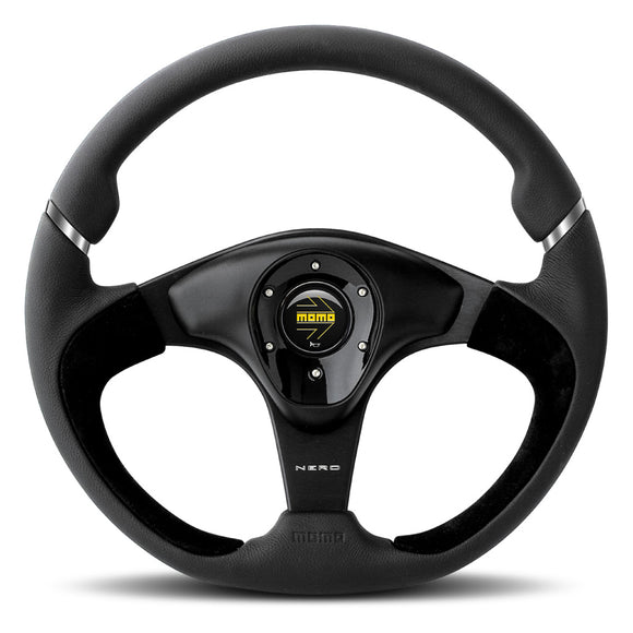 MOMO Nero Steering Wheel Black Leather Black Spokes 350mm