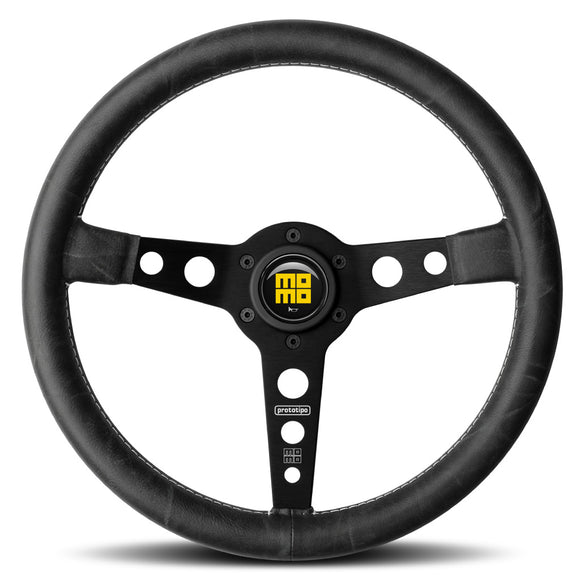 MOMO Prototipo Heritage Steering Wheel Black Leather Black Spokes 350mm - evilspeed.eu