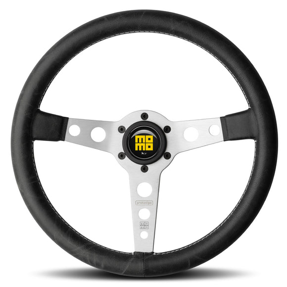 MOMO Prototipo Heritage Steering Wheel Black Leather Silver Spokes 350mm