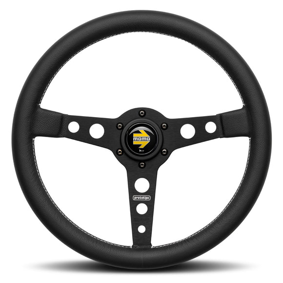 MOMO Prototipo Steering Wheel Black Leather Black Spokes 350mm