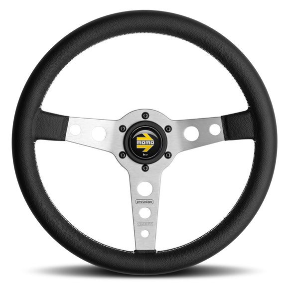 MOMO Prototipo Steering Wheel Black Leather Silver Spokes 350mm