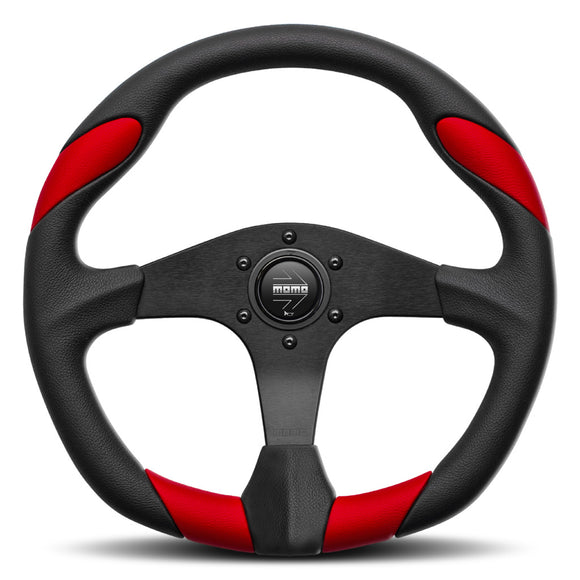 MOMO Quark Steering Wheel Black Red Leather Black Spokes 350mm - evilspeed.eu