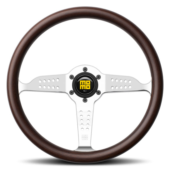 MOMO Super Grand Prix Steering Wheel Mahogany Wood Silver Spokes 350mm - evilspeed.eu
