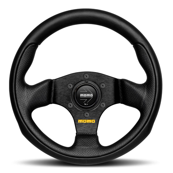 MOMO Team Steering Wheel Black Leather Black Spokes 280mm