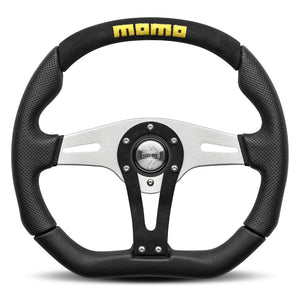 MOMO Trek Steering Wheel Black Leather Silver Spokes 350mm
