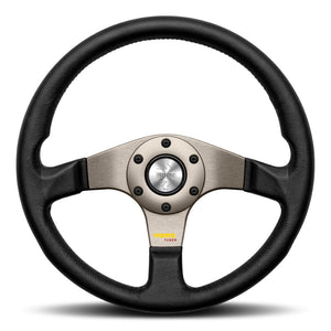 MOMO Tuner Steering Wheel Black Leather Anthracite Spokes 320mm