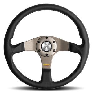 MOMO Tuner Steering Wheel Black Leather Anthracite Spokes 350mm