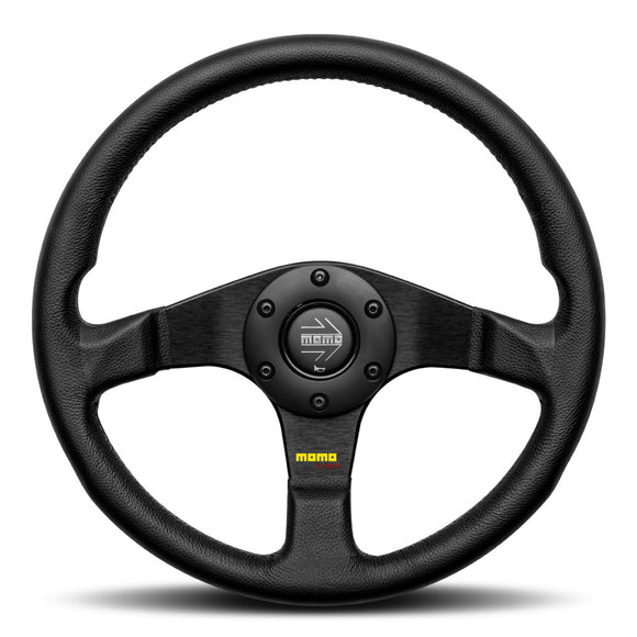 MOMO Tuner Steering Wheel Black Leather Black Spokes 320mm