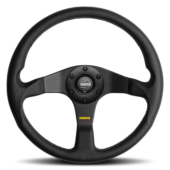 MOMO Tuner Steering Wheel Black Leather Black Spokes 350mm