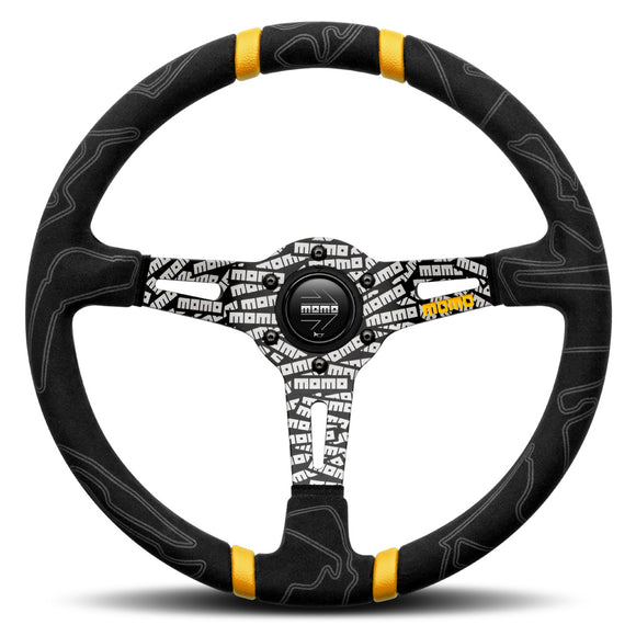 MOMO ULTRA Steering Wheel Black Alcantara Black Spokes 350mm