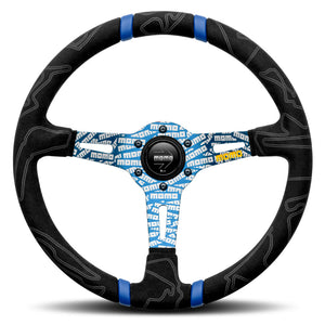 MOMO ULTRA Steering Wheel Black Alcantara Blue Spokes 350mm