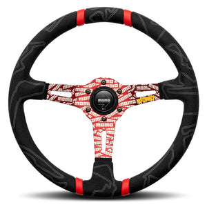 MOMO ULTRA Steering Wheel Black Alcantara Red Spokes 350mm