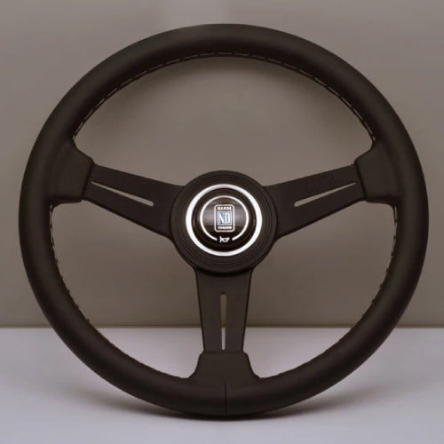 Nardi ND Classic Steering Wheel - Black Leather Black Spokes White Stitching 330