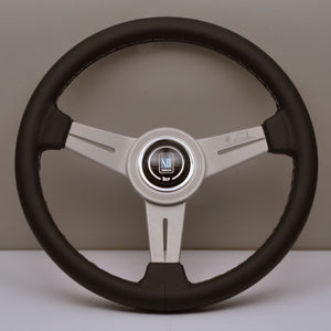Nardi ND Classic Steering Wheel - Black Leather Satin Spokes Grey Stitching 330