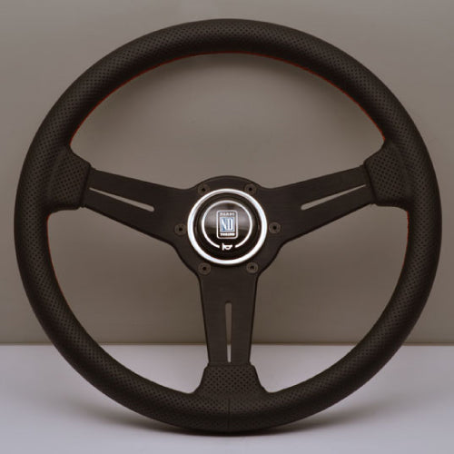 Nardi ND Classic Steering Wheel - Black Perforated Leather with Red Stitching Black Spokes 330mm