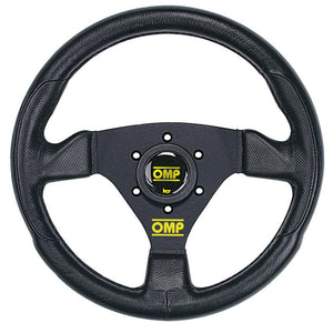 OMP Trecento Uno Steering Wheel Black Leather Black Spokes 300mm