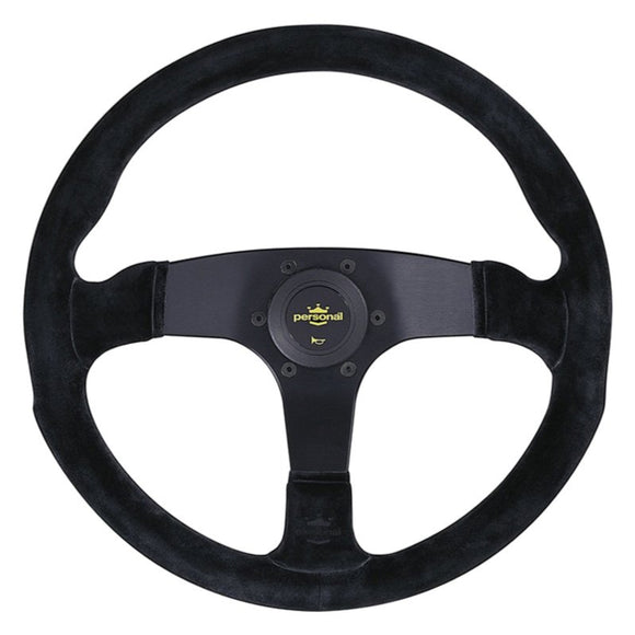 Personal Fitti Corsa Steering Wheel - Black Leather Black Spokes Yellow Stitching 350mm