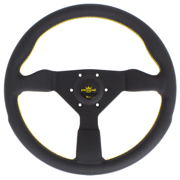 Personal Grinta Steering Wheel - Black Leather Black Spokes Yellow Stitching 350mm