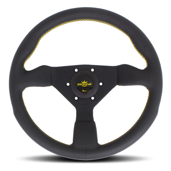 Personal Grinta Steering Wheel Black Suede Black Spokes Yellow Stitching 330mm