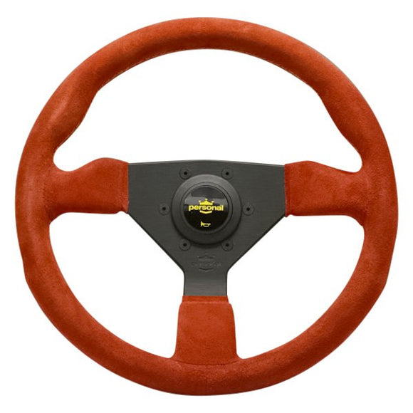 Personal Grinta Steering Wheel - Red Suede Black Spokes Yellow Stitching 330mm