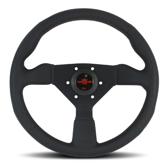 Personal Neo Grinta Steering Wheel - Black Leather Black Spokes Red Stitching 330mm