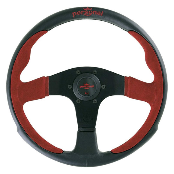 Personal Pole Position Steering Wheel Black Leather Red Suede Black Spokes 350mm