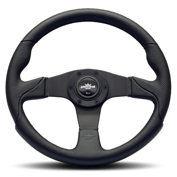 Personal Thunder Steering Wheel Black Leather Black Spokes 350mm