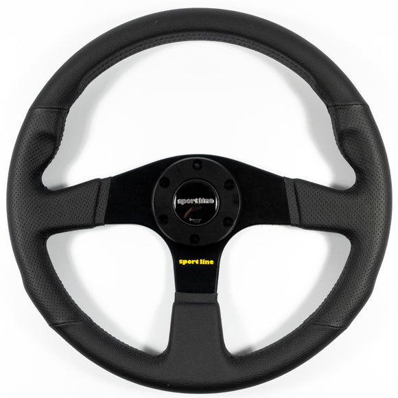 Sport Line Imola Steering Wheel Black Leather Black Spokes 350mm