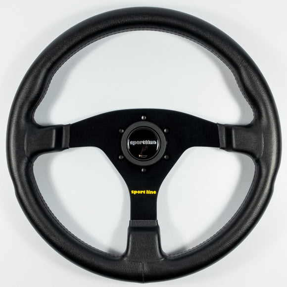 Sport Line Comfort Steering Wheel Black Leather Black Spokes 350mm