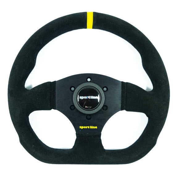 Sport Line Competition Steering Wheel - Black Suede Black Spokes 300mm