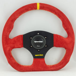 Sport Line Competition Steering Wheel Red Suede Black Spokes 300mm