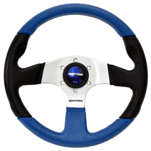Sport Line Imola Color 2 Steering Wheel Blue/Black Polyurethane Silver Spokes 330mm
