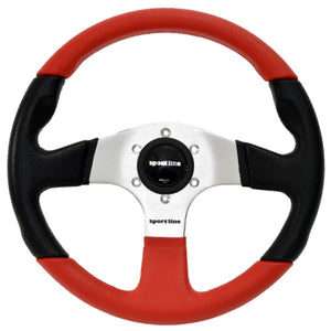 Sport Line Imola Color 2 Steering Wheel Black/Red Polyurethane Silver Spokes 330mm