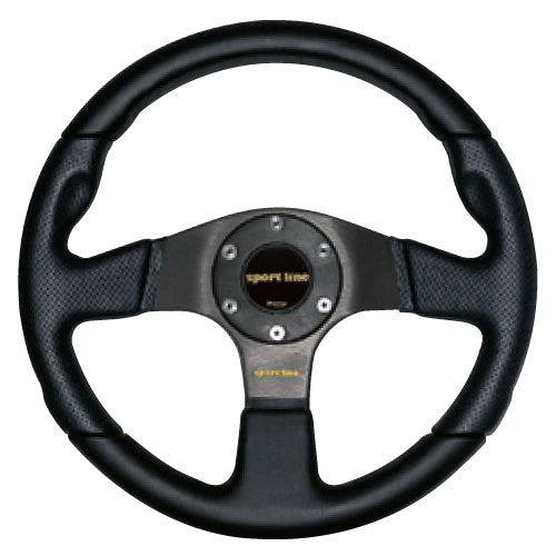 Sport Line Imola Steering Wheel - Black Leather Black Spokes 330mm