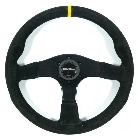 Sport Line Imola Steering Wheel Black Suede Black Spokes 350mm