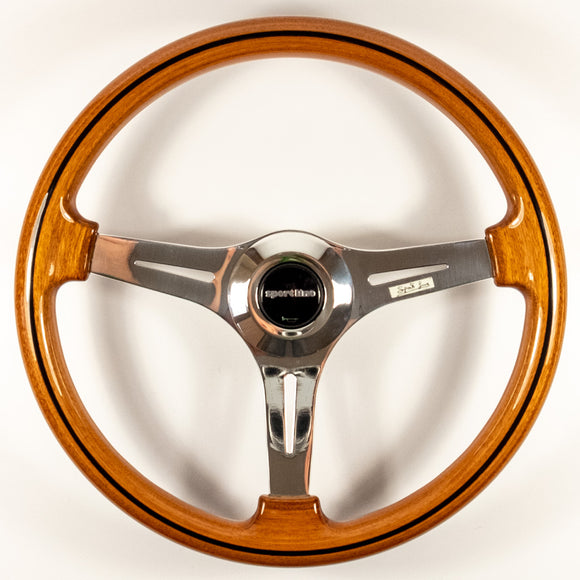 Sport Line Prestige Steering Wheel Mahogany Wood Polished Spokes 370mm
