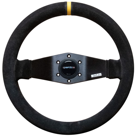 Sport Line Racing 2 Two Spoke Steering Wheel Black Suede Black Spokes 330mm