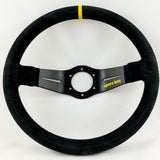 Sport Line Racing 2 Two Spoke Steering Wheel Black Suede Black Spokes 350mm