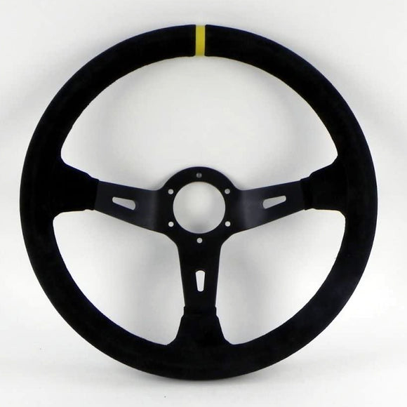 Sport Line Racing 3 Steering Wheel - Black Suede Black Spokes 330mm