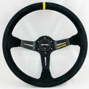 Sport Line Racing 3 Steering Wheel Black Suede Black Spokes 350mm