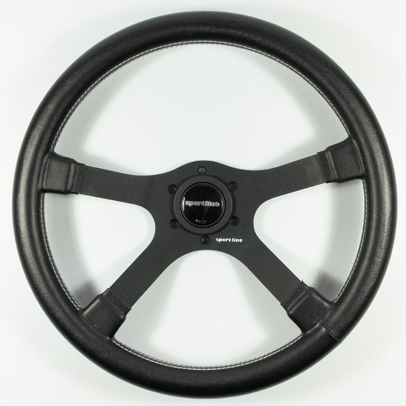 Sport Line 4 Four Spoke Steering Wheel Black Vinyl Black Spokes 370mm